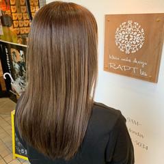 ベージュ ブラウンベージュ セミロング ミルクティーベージュ ヘアスタイルや髪型の写真・画像