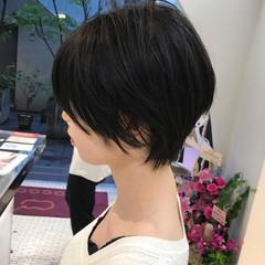 ハンサムショート ナチュラル 黒髪 ショート ヘアスタイルや髪型の写真・画像