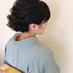 ナチュラル 着物 結婚式 セミロング ヘアスタイルや髪型の写真・画像