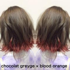 ナチュラル可愛い オレンジ ボブ 裾カラー ヘアスタイルや髪型の写真・画像