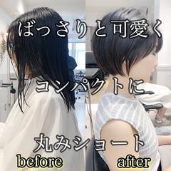 ショートボブ ショート ナチュラル ストレート ヘアスタイルや髪型の写真・画像