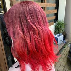 イルミナカラー チェリーピンク モード グラデーションカラー ヘアスタイルや髪型の写真・画像