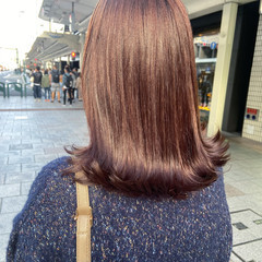 ラベンダーピンク ベリーピンク ミディアム ピンク ヘアスタイルや髪型の写真・画像