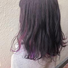 インナーカラーパープル インナーカラー ナチュラル 卒業式 ヘアスタイルや髪型の写真・画像