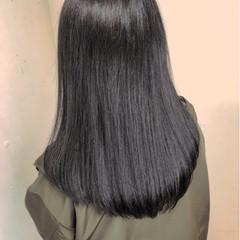 ブルーブラック ワンレン トリートメント ロング ヘアスタイルや髪型の写真・画像