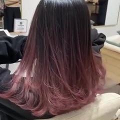 ハイトーンカラー バレイヤージュ ピンク エレガント ヘアスタイルや髪型の写真・画像