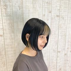 デザインカラー ナチュラル ネイビーブルー インナーカラー ヘアスタイルや髪型の写真・画像