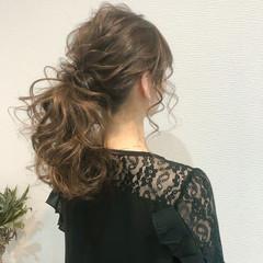 ヘアアレンジ ヘアセット セミロング ポニーテール ヘアスタイルや髪型の写真・画像