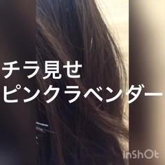 ガーリー ナチュラル可愛い インナーカラーパープル インナーカラー ヘアスタイルや髪型の写真・画像