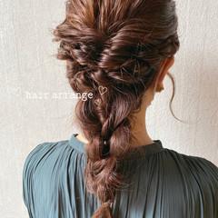 編みおろしヘア ナチュラル ミディアム ヘアアレンジ ヘアスタイルや髪型の写真・画像