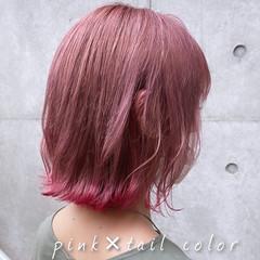 裾カラー ナチュラル ラベンダーピンク ボブ ヘアスタイルや髪型の写真・画像
