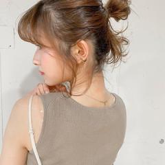 小顔 ミディアム ヘアアレンジ シニヨン ヘアスタイルや髪型の写真・画像