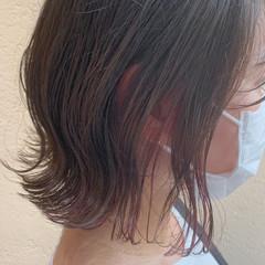 インナーピンク ナチュラル ボブ インナーカラー ヘアスタイルや髪型の写真・画像