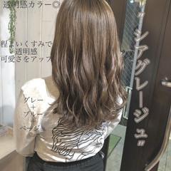 ブルージュ ネイビーブルー ネイビージュ セミロング ヘアスタイルや髪型の写真・画像