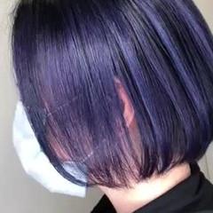 パープル バレイヤージュ グラデーションカラー ショートボブ ヘアスタイルや髪型の写真・画像