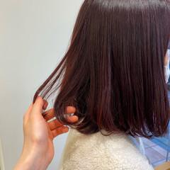 モード 韓国ヘア カシスレッド チェリーレッド ヘアスタイルや髪型の写真・画像