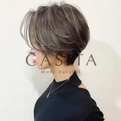 ショートヘア ハイライト ナチュラル ショート ヘアスタイルや髪型の写真・画像