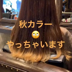 ロング アプリコットオレンジ オレンジ レッド ヘアスタイルや髪型の写真・画像