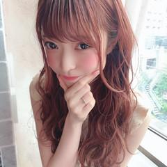 前髪 ピンクグレージュ 大人可愛い ロング ヘアスタイルや髪型の写真・画像