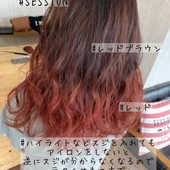 ガーリー ダブルカラー レッドブラウン グラデーションカラー ヘアスタイルや髪型の写真・画像