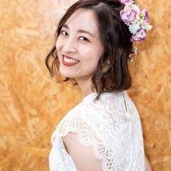 ヘアアレンジ 簡単ヘアアレンジ ガーリー 結婚式ヘアアレンジ ヘアスタイルや髪型の写真・画像