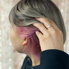 ショート ブリーチ必須 インナーカラー コントラストハイライト ヘアスタイルや髪型の写真・画像