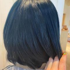 ブルーブラック ストリート ハイトーンカラー ボブ ヘアスタイルや髪型の写真・画像