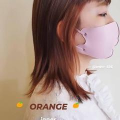 インナーカラーオレンジ オレンジカラー セミロング ストリート ヘアスタイルや髪型の写真・画像