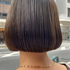アッシュベージュ ボブ アッシュグレージュ ショートボブ ヘアスタイルや髪型の写真・画像