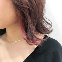 ナチュラル ピンクベージュ ピンク ミディアム ヘアスタイルや髪型の写真・画像