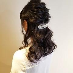 ハーフアップ 結婚式ヘアアレンジ 結婚式 ナチュラル ヘアスタイルや髪型の写真・画像