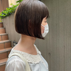 ナチュラル くすみベージュ 頭皮ケア ボブ ヘアスタイルや髪型の写真・画像
