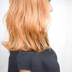 オレンジブラウン オレンジベージュ オレンジ ナチュラル ヘアスタイルや髪型の写真・画像