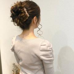 フェミニン アップスタイル ヘアセット ヘアアレンジ ヘアスタイルや髪型の写真・画像