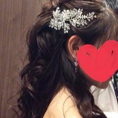 エレガント 結婚式ヘアアレンジ セミロング ヘアアレンジ ヘアスタイルや髪型の写真・画像