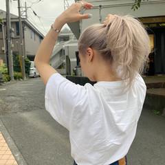 ストリート セミロング ホワイトアッシュ ホワイトブリーチ ヘアスタイルや髪型の写真・画像