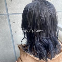 ネイビー ネイビーブルー ミディアム ネイビーカラー ヘアスタイルや髪型の写真・画像