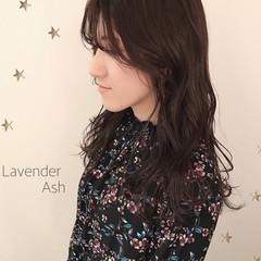 ラベンダー 大人かわいい ラベンダーアッシュ ナチュラル ヘアスタイルや髪型の写真・画像