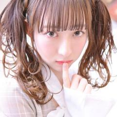 ツインテール ガーリー デート シースルーバング ヘアスタイルや髪型の写真・画像