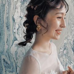 ミディアム ナチュラル 結婚式ヘアアレンジ ヘアアレンジ ヘアスタイルや髪型の写真・画像