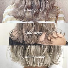 ブリーチカラー モード 透明感カラー ホワイトベージュ ヘアスタイルや髪型の写真・画像