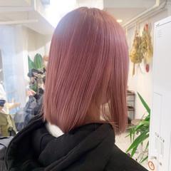ボブ ピンクアッシュ ピンクブラウン ナチュラル ヘアスタイルや髪型の写真・画像