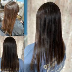 縮毛矯正 ロング コンサバ 髪質改善カラー ヘアスタイルや髪型の写真・画像