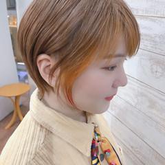 ピンク ショート ナチュラル ハンサムショート ヘアスタイルや髪型の写真・画像