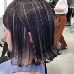 ボブ ホワイトハイライト 簡単スタイリング 黒髪 ヘアスタイルや髪型の写真・画像
