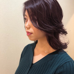 ウルフカット ブルーバイオレット コンサバ ブルーラベンダー ヘアスタイルや髪型の写真・画像