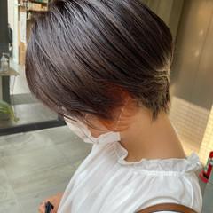 ガーリー ショートボブ オレンジカラー ショート ヘアスタイルや髪型の写真・画像