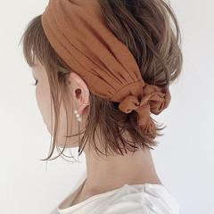 セルフヘアアレンジ ミニボブ 切りっぱなしボブ ナチュラル ヘアスタイルや髪型の写真・画像