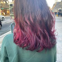 モード セミロング ラベンダーピンク ピンクバイオレット ヘアスタイルや髪型の写真・画像