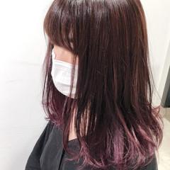 ピンク インナーカラー グラデーションカラー ブリーチカラー ヘアスタイルや髪型の写真・画像